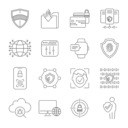 Modern digital technologies. Face recognition, fingerprint scanner, data protection, personal security, digital communication systems, social networks. Protection concept. Editable Stroke. EPS 10 Illustration