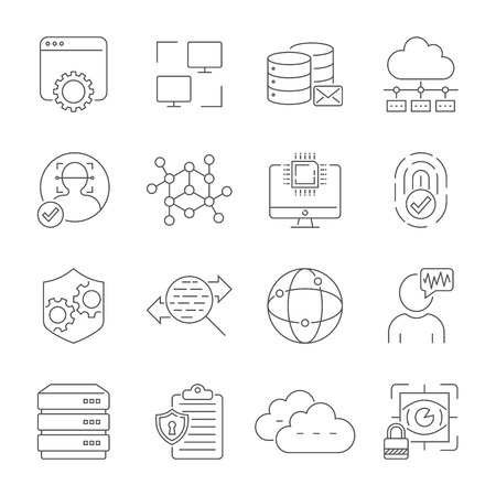 Network technology, face recognition, internet protection, cloud service, server, data. Vector icons set. Editable Stroke. EPS 10