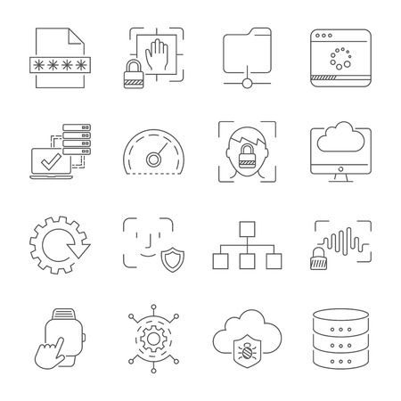 User experience and usability, digital technologies, apps and interfaces signs and symbols. Stock Illustratie