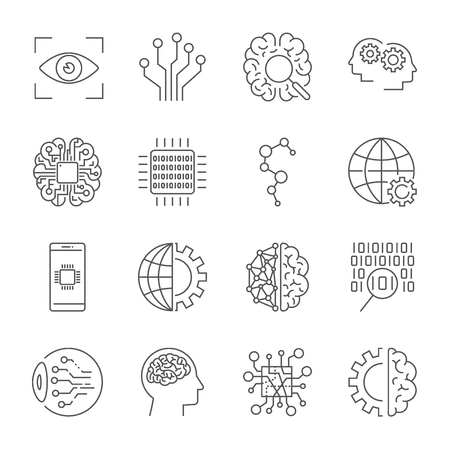 Artificial Intelligence. Vector icon set for artificial intelligence AI concept. Various symbols for the topic using flat design. Editable stroke. Ilustração