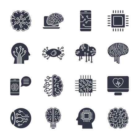 Simple set of artificial intelligence related line icons contains such icons as droid, eye, chip, brain Ilustração
