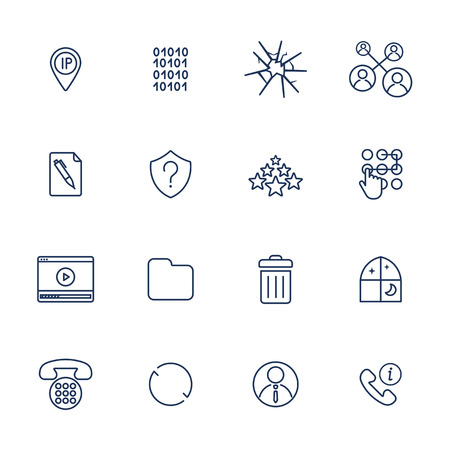 Set of 16 vector icons for software, application or websites - social media and technology Stockfoto - 124952044