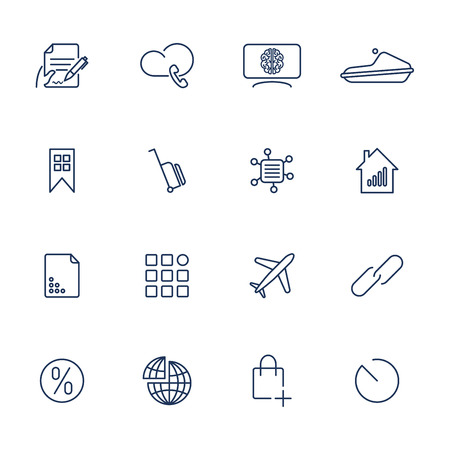16 different icons for app, mobile, sites Stock Illustratie