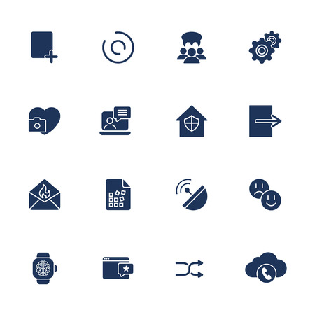 Flat design icons set modern style vector illustration concept of web development service, social media marketing, graphic design, business company branding items and advertising elements
