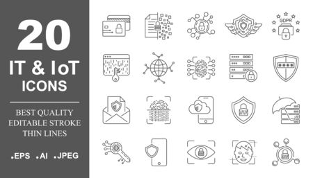 Cloud computing, internet technology, online services, data, information security, connection. Thin line web icon set. Outline icons collection. Vector illustration. Editable Stroke. EPS 10