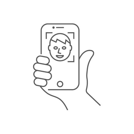 Hand holding a smartphone, vertical position. Self-portrait picture or face recognition. Vector illustration.