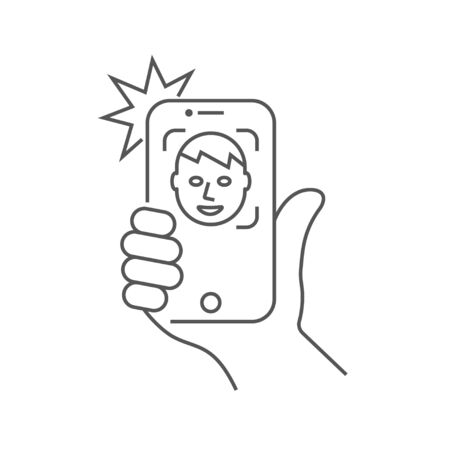 The hand hold the smartphone and doing selfie. Photo on smartphone. Stockfoto - 124952171
