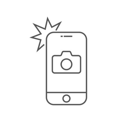 Simple icon smartphone with camera and flash. Modern phone with photo sign for web design. Vector outline element isolated.