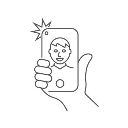 Hand is holding smartphone and the guy is taking a selfie. Stockfoto - 124952192