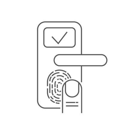 Smart door lock with finger scanner on white background. Editable Stroke Ilustração