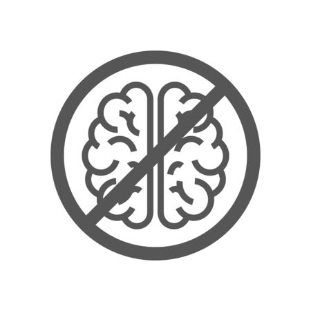 Sign with brain, concept of to deny the thinking. Brain no thought stagnation depression ban. Stock Illustratie