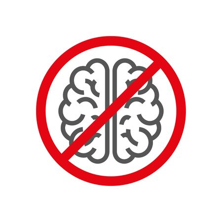 Sign with brain, concept of to deny the thinking. Brain no thought stagnation depression ban. Stockfoto - 127655092