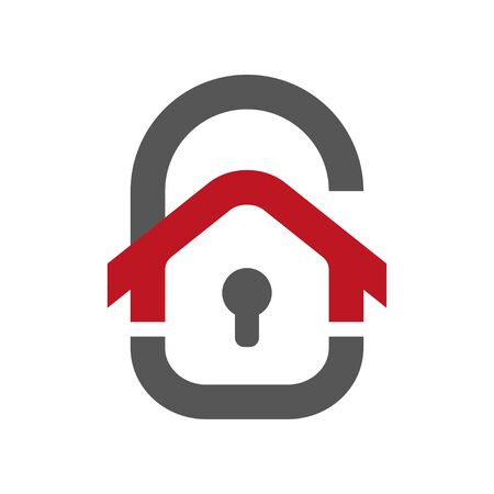 Home protection icon. House in the form of a door lock. Protection vector icon for web design isolated on white background. Home guard concept. Stock Illustratie