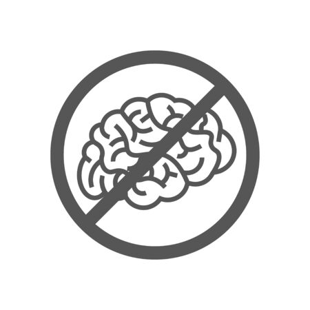 Sign with brain, concept of to deny the thinking. Brain no thought stagnation depression ban. Illustration