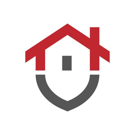 Home protection logo design template. Vector shield and house logotype illustration. Graphic home security icon label. Modern building alarm symbol. Security sign badge. Stockfoto - 127655097