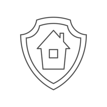 Mortgage protection icon. Outline mortgage protection vector icon for web design isolated on white background.