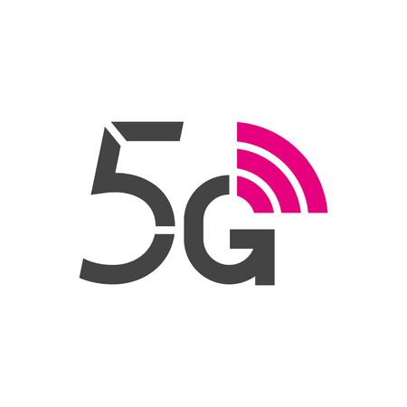 5G vector logo. 5th generation wireless internet network technology. Mobile devices, telecommunication, business, web, networking. Stock Illustratie