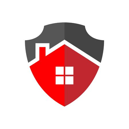 Protection of Home Logo. The image of the house in the form of a shield. Property Protection Concept. Ilustração