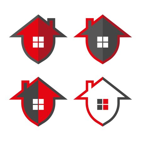 Home security. Home in form shield, vector illustrations. Home protection logo design template. Vector shield and house logotype illustration. Graphic home security icon label. Stockfoto - 127655111