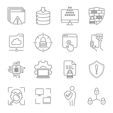 Linear internet icons set. Universal internet icon to use in web and mobile UI. Internet icons sign. Editable Stroke.