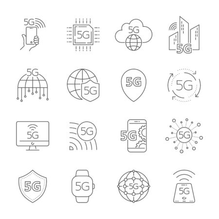 5th generation mobile network, high speed connection wireless systems. 5G technology icons set. 5G technology vector icons for web design. Editable Stroke.