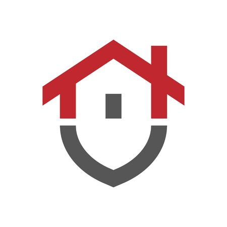 RGBHome protection logo design template. Vector shield and house logotype illustration. Graphic home security icon label. Modern building alarm symbol. Security sign badge. Stock Illustratie
