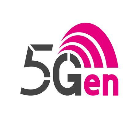 5G network logo. Logo network 5G connection. Wireless network 5th deneration.
