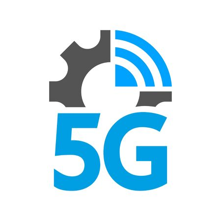 Vector technology icon network sign 5G. Illustration 5g internet symbol in flat style.
