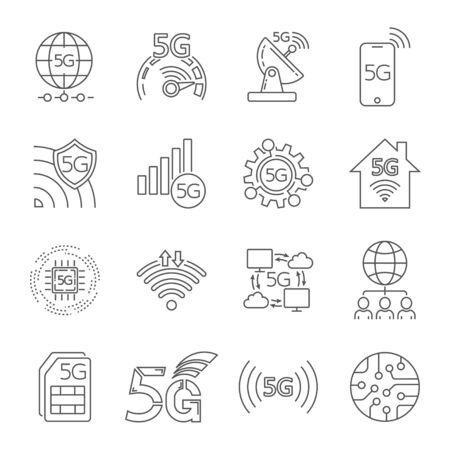 5G technology icons set. Outline set of 5G technology vector icons for web design isolated on white background. Editable Stroke