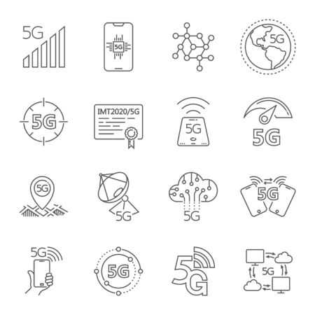 Icons set on theme of the 5th generation 5G mobile communication standard. Related 5G linear icons for apps, web, user interface and others. Editable Stroke. Stock Illustratie