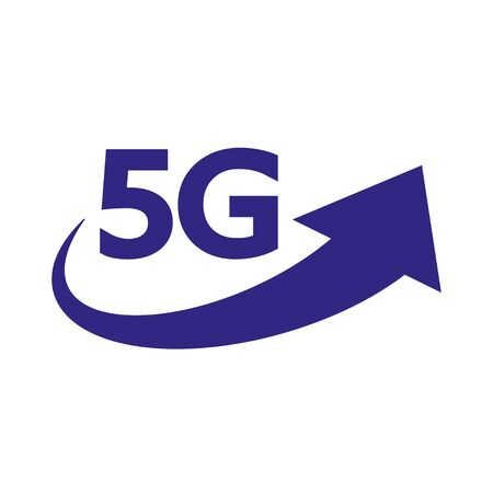 5G internet network vector logo. Isolated icon for 5 G mobile net or wireless high speed connection and data transmission technology and smartphone UI app design. Stockfoto - 127655220