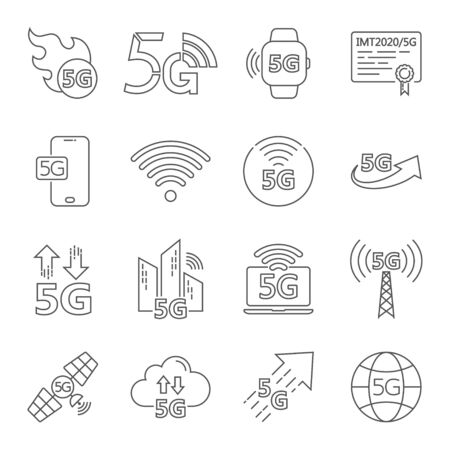 5G internet line icons set. Included icons as IOT, internet of things, bandwidth, signal, devices and more. Editable Stroke. Illustration