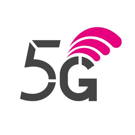 5G network wireless systems and internet vector illustration. Communication network. Business concept banner. Stock Illustratie