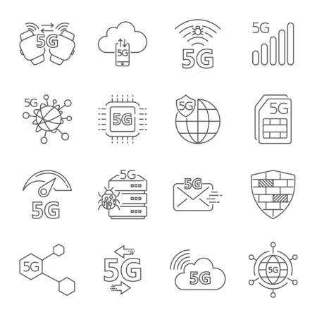 5G technology wireless, 5g network, mobile communication 5th generation, 5g mobile internet. Set of linear vector icons. Thin line. Editable Stroke. Stockfoto - 127655249