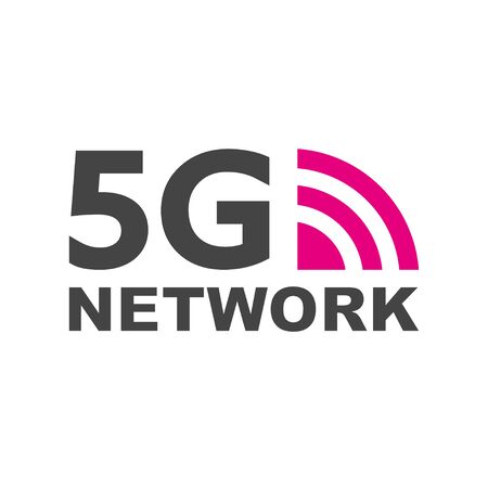 5G new wireless internet wifi connection. Vector technology icon network sign 5G. Fifth innovative generation of the global high speed Internet broadband network