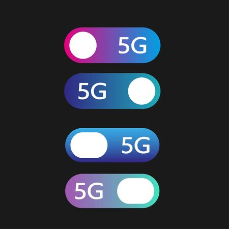 5G networks concept. Set of vector modern material style buttons. Different gradient colors. Stockfoto - 127655281