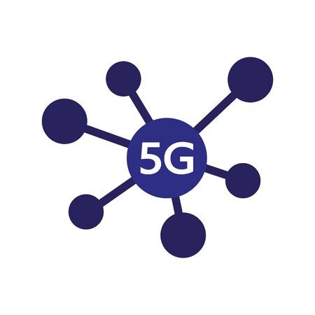 5G new wireless internet wifi connection. Vector technology icon network sign 5G. Fifth innovative generation of the global high speed Internet broadband network. Ilustração