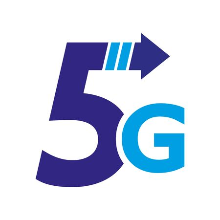 5th generation mobile network logotype. Isolated vector 5G icon. High speed connection wireless systems sign. Telecommunications standard of faster Internet connection.