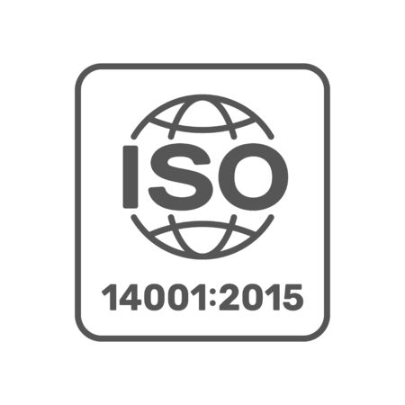 ISO 14001 2015 certified symbol. ISO 14001 2015 certified quality management sign. Editable Stroke. EPS 10.