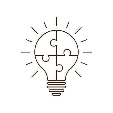 Simple flat light bulb icon with jigsaw puzzle pieces inside. Vector illustration. EPS 10