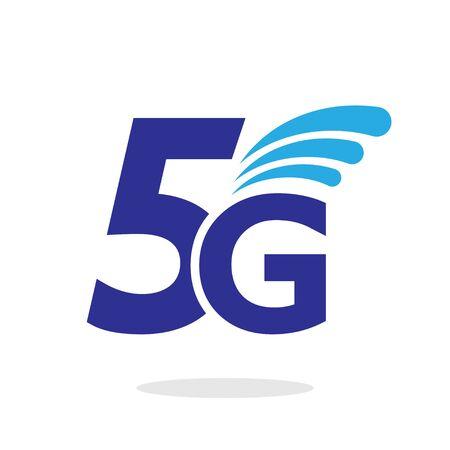 Vector technology icon network sign 5G. Illustration 5g internet symbol in flat minimalism style. EPS 10