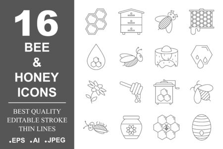 Beekeeping and honey line icons set. Honey industry concept. Set of Bee products and beekeeping symbols. packaging design, labels and tags with bees and honeycombs. Editable Stroke. EPS 10. Illustration