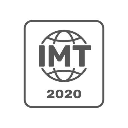 IMT-2020 certification symbol. International standar for 5G networks. Sign of 5G standard. IMT-2020 label, certified badge. Certification stamp. Flat design vector. EPS 10
