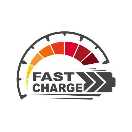 Icono de carga de batería. Icono de carga rápida y rápida. EPS 10.