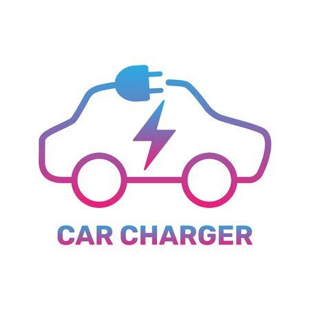 Electric car icon. Electric car charging station. Silhouette electric car in form of cable with plug. Vector Illustration. EPS 10.