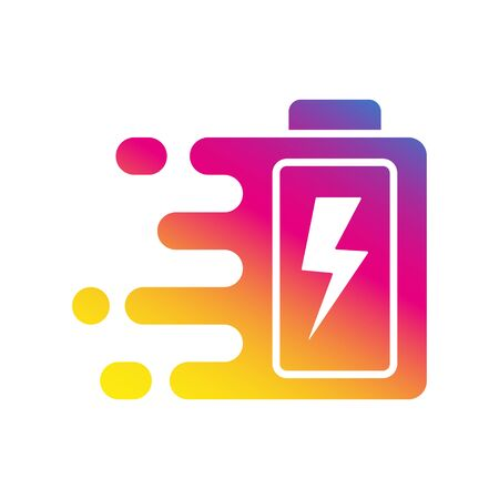 Quick and fast battery charging icon with thunder sign. Quick Charge . Vector Illustration. EPS 10. Ilustração