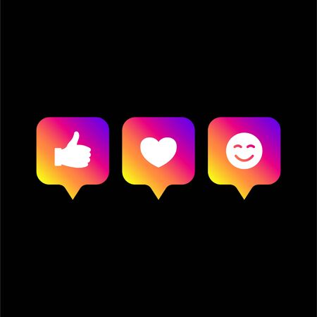 Followers comment icon set. Colors social network icons pack isolated on black background. App symbol template. Social media modern gradient color. Vector Illustration. EPS 10.