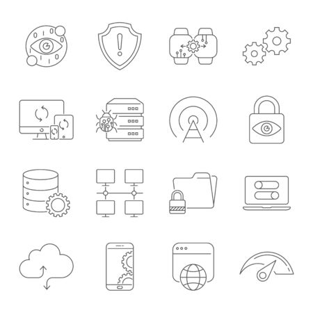 Modern thin line icons set of digital technology. Premium quality symbol collection. Simple linear pictogram pack. Stroke vector concept, web graphics. Editable Stroke. EPS 10. Ilustração
