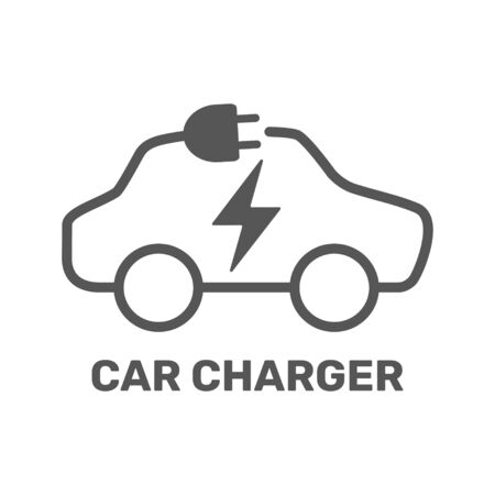 Electric car icon. Electric car charging station. Silhouette electric car in form of cable with plug. Vector Illustration. EPS 10