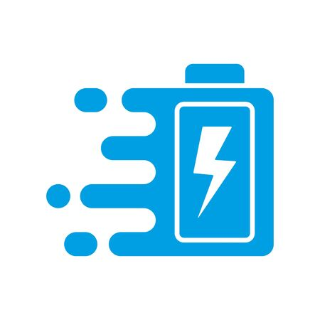 Quick and fast battery charging icon with thunder sign. Quick Charge. Vector Illustration. EPS 10 Ilustração